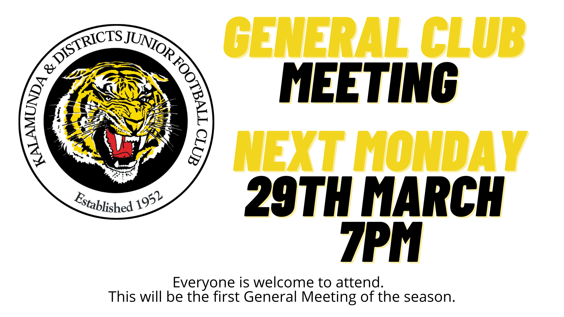 General Meeting 29th March 7pm